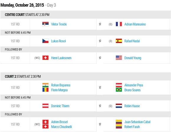 26 ottobre ATP Basel