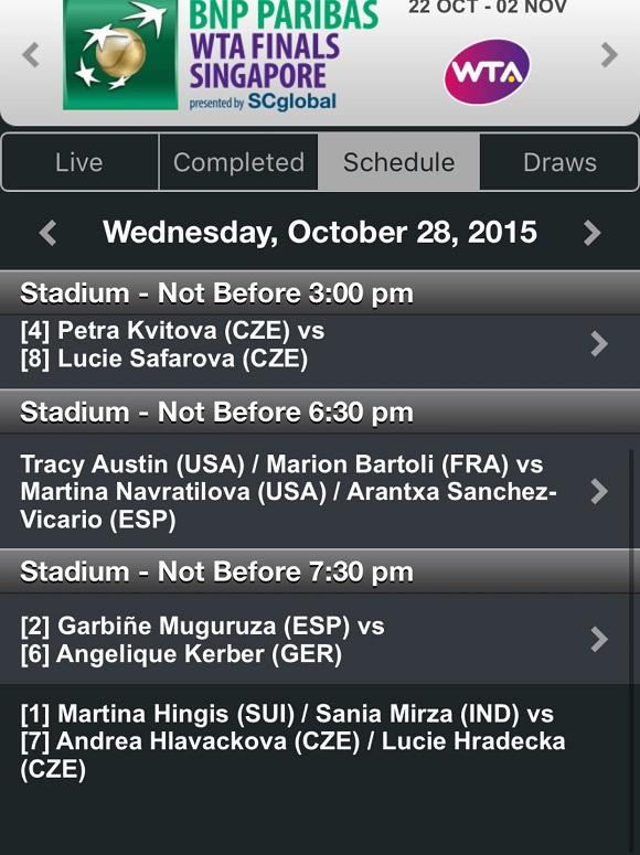 28 ottobre WTA Finals