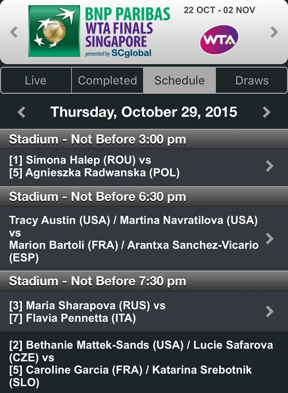 29 ottobre WTA Finals