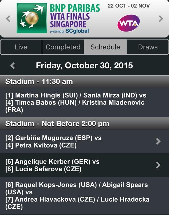 30 ottobre WTA Finals