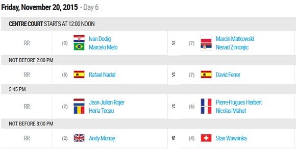 20 novembre ATP Finals